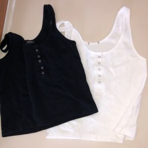 Pair of Waffle Knit Tank Top with Buttons
